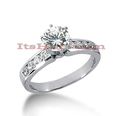 Channel and Prong Set 14K Gold Diamond Engagement Ring Mounting 0.40ct Main Image