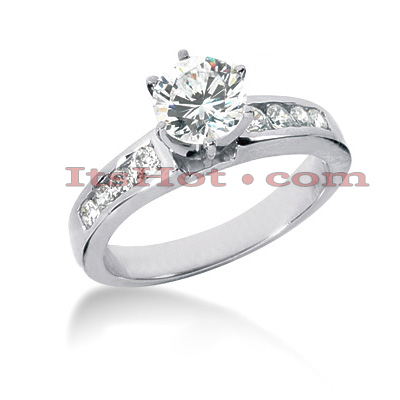 Prong and Channel Set 14K Gold Diamond Engagement Ring Mounting 0.40ct