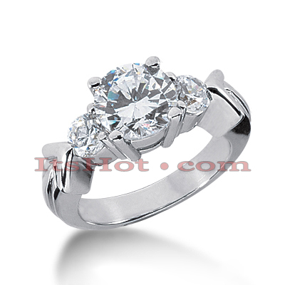 14K Gold Handcrafted Diamond Engagement Ring Mounting 0.46ct Main Image