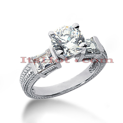 14K Gold Handcrafted Diamond Engagement Ring Mounting 0.48ct