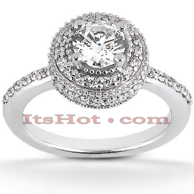 Halo 14K Gold Diamond Engagement Ring Mounting 0.48ct