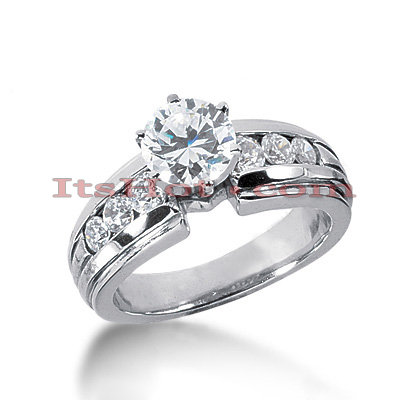 14K Gold Prong and Channel Set Diamond Engagement Ring Mounting 0.48ct Main Image