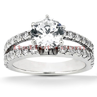 Prong and Channel Set 14K Gold Diamond Engagement Ring Mounting 0.48ct Main Image