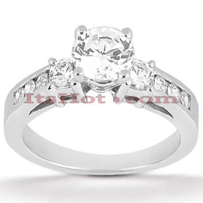 Channel and Prong Set 14K Gold Diamond Engagement Ring Mounting 0.48ct