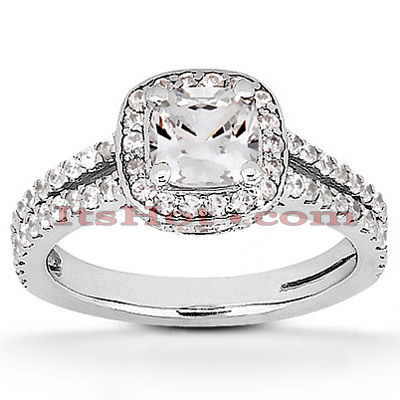 Halo 14K Gold Diamond Engagement Ring Mounting 0.49ct