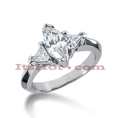 14K Gold Marquise and Trillion Diamond Engagement Ring Mounting 0.50ct