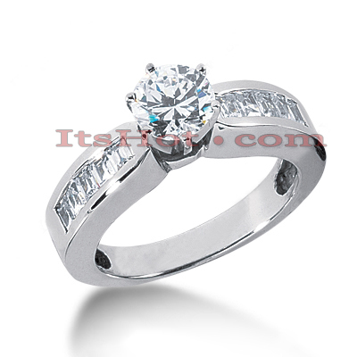 14K Gold Baguette and Round Diamond Engagement Ring Mounting 0.50ct Main Image