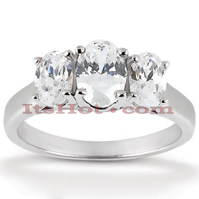 14K Gold Oval Cut Diamond Engagement Ring Mounting 0.50ct