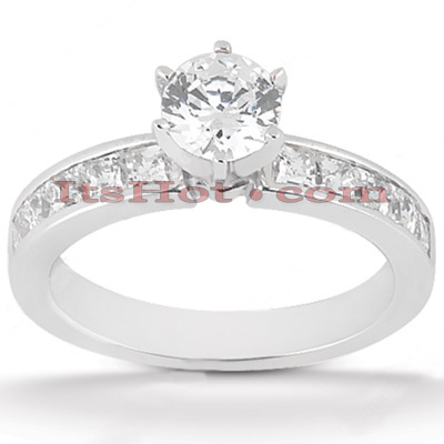 Channel and Prong Set 14K Gold Diamond Engagement Ring Mounting 0.50ct Main Image