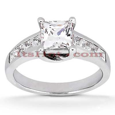 14K Gold Princess Diamond Engagement Ring Mounting 0.50ct Main Image