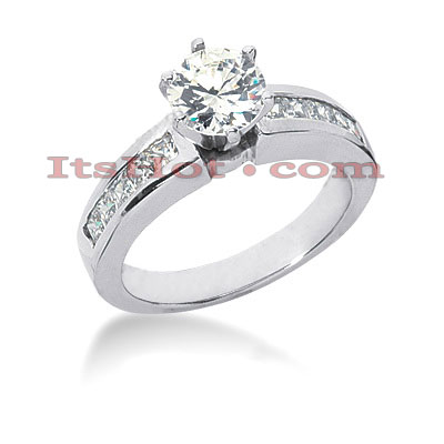 14K Gold Diamond Channel and Prong Set Engagement Ring Mounting 0.50ct Main Image