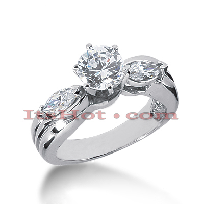 14K Gold Marquise and Round Diamond Engagement Ring Mounting 0.50ct Main Image