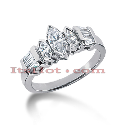 14K Gold Marquise and Baguette Diamond Engagement Ring Mounting 0.58ct Main Image