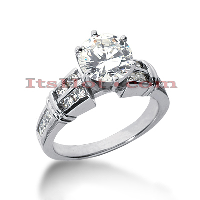 14K Gold Princess and Round Diamond Engagement Ring Mounting 0.52ct