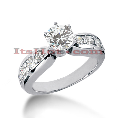 14K Gold Channel and Prong Set Diamond Engagement Ring Mounting 0.52ct Main Image