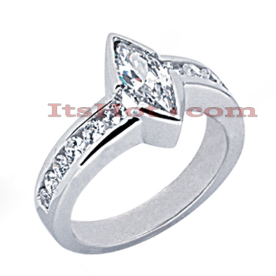 14K Gold Marquise Diamond Engagement Ring Mounting 0.54ct