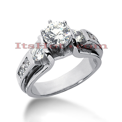 14K Gold Channel and Prong Set Diamond Engagement Ring Mounting 0.54ct