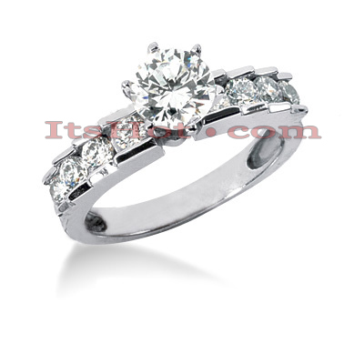 14K Gold Round Diamond Engagement Ring Mounting 0.54ct Main Image
