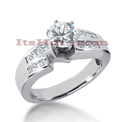 14K Gold Round and Princess Diamond Engagement Ring Mounting 0.54ct Main Image