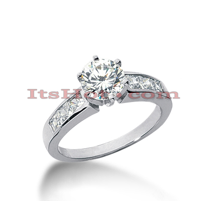 14K Gold Princess and Round Diamond Engagement Ring Mounting 0.54ct Main Image