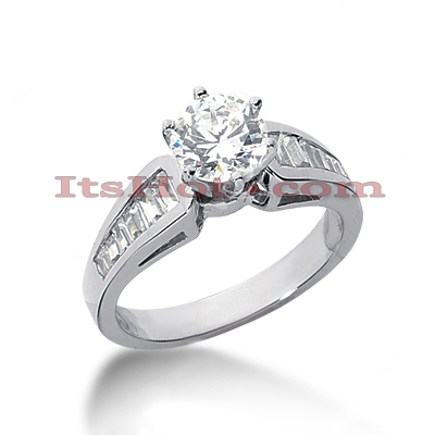 14K Gold Prong and Channel Set Diamond Engagement Ring Mounting 0.56ct Main Image