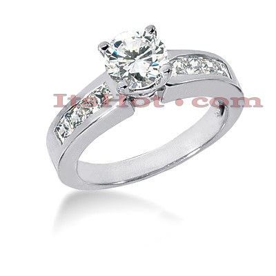 14K Gold Diamond Prong and Channel Set Engagement Ring Mounting 0.56ct Main Image