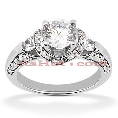 14K Gold Handmade Diamond Engagement Ring Mounting 0.57ct Main Image