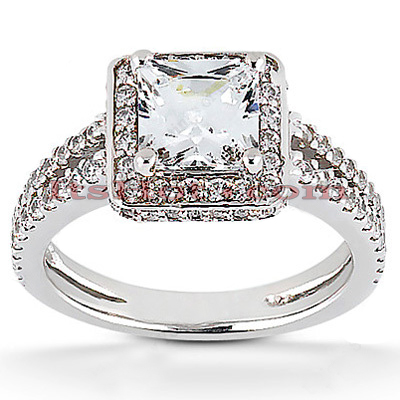 Halo 14K Gold Diamond Engagement Ring Mounting 0.57ct