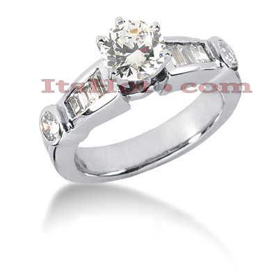 14K Gold Round and Baguette Diamond Engagement Ring Mounting 0.60ct