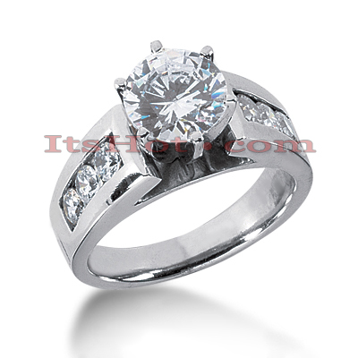 14K Gold Prong and Channel Set Diamond Engagement Ring Mounting 0.60ct Main Image