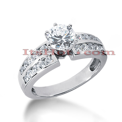 14K Gold Diamond Prong and Channel Set Engagement Ring Mounting 0.60ct Main Image