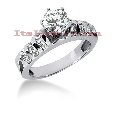 14K Gold Diamond Bar Prong and Channel Set  Engagement Ring Mounting 0.60ct Main Image
