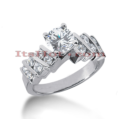 14K Gold Diamond Prong Bar and Channel Set Engagement Ring Mounting 0.60ct Main Image