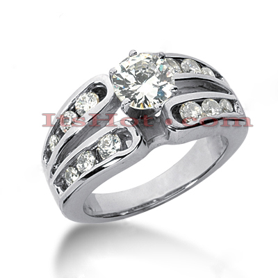 Channel and Prong Set 14K Gold Diamond Engagement Ring Mounting 0.60ct