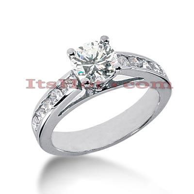 14K Gold Prong and Channel Set Round Diamond Engagement Ring Mounting 0.60ct Main Image