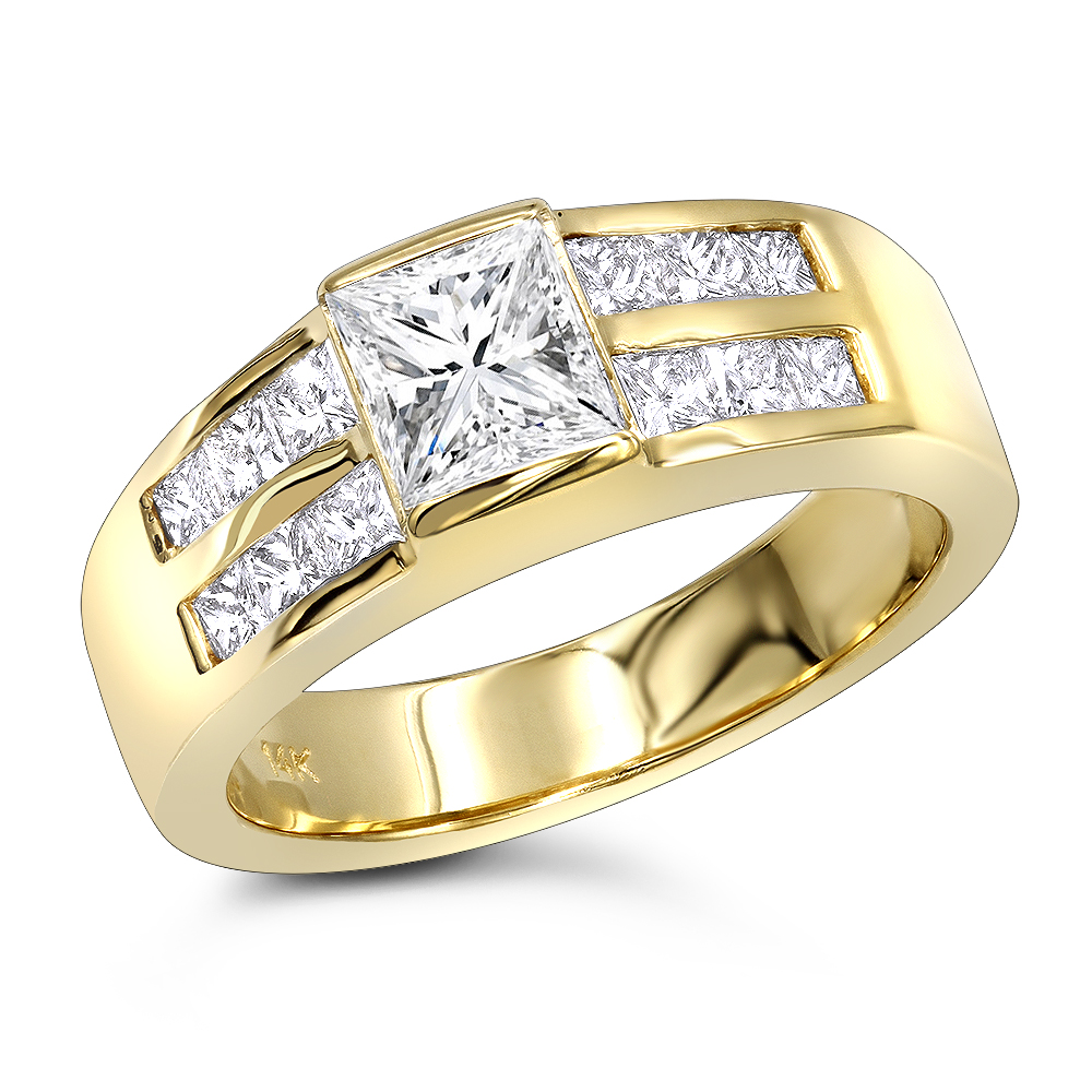 14K Gold Diamond Engagement Ring Mounting 0.60ct Yellow Image