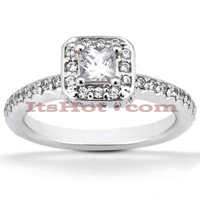 Halo 14K Gold Diamond Engagement Ring Mounting 0.61ct Main Image
