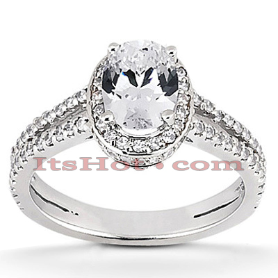 Halo 14K Gold Diamond Engagement Ring Mounting 0.63ct