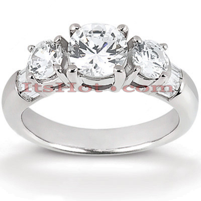 Thin 14K Gold Diamond Engagement Ring Mounting 0.70ct Main Image