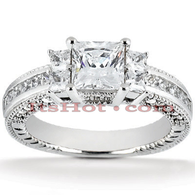 14K Gold Diamond Engagement Ring Mounting 0.74ct