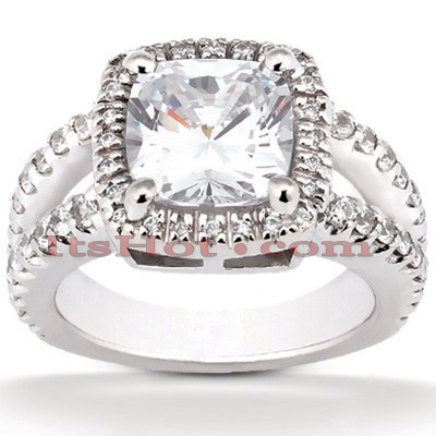Halo 14K Gold Diamond Engagement Ring Mounting 0.74ct