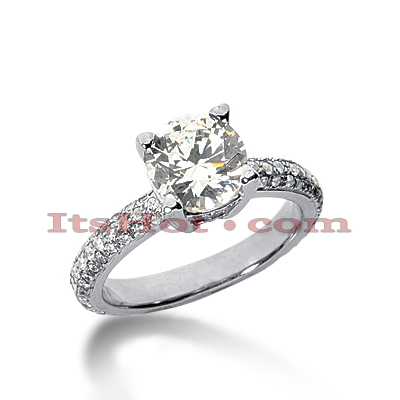 14K Gold Diamond Engagement Ring Mounting 0.79ct