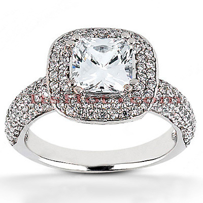 Halo 14K Gold Diamond Engagement Ring Mounting 0.84ct