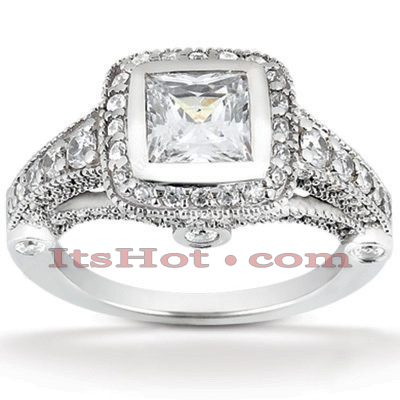 Halo 14K Gold Diamond Engagement Ring Mounting 0.88ct