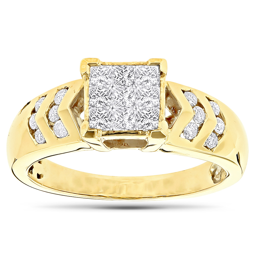 14K Gold Diamond Engagement Ring Princess & Round 0.80 Yellow Image
