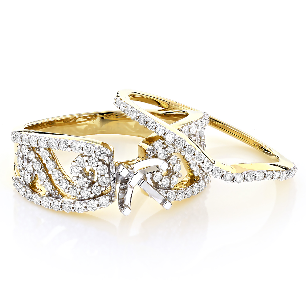 14K Gold Diamond Engagement Ring Set 0.93ct Yellow Image