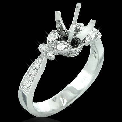 14K Gold Diamond Engagement Ring Setting 0.33ct