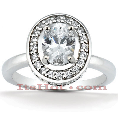 Halo 14K Gold Diamond Engagement Ring Setting 0.36ct