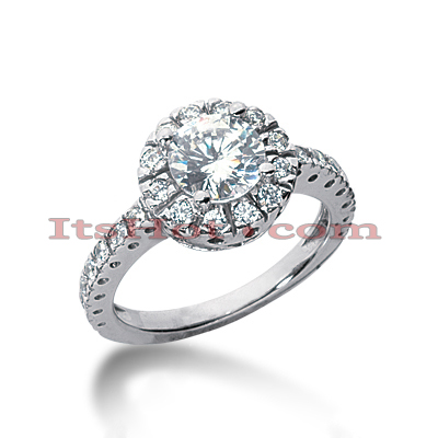 Halo 14K Gold Diamond Engagement Ring Setting 0.39ct
