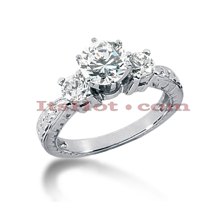 14K Gold Diamond Engagement Ring Setting 0.50ct Main Image